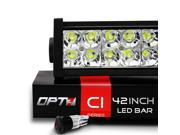 "OPT7 C1 Series 42"" Off-Road LED Light Bar w/ Power Harness and Switch - 240W Flood/Spot Combo Auxiliary ATV SidexSide Boat Marine Work Lamp"