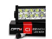 "OPT7 C1 Series 22"" Off-Road LED Light Bar w/ Power Harness and Switch - 120W Flood/Spot Combo Auxiliary ATV SidexSide Boat Marine Work Lamp"