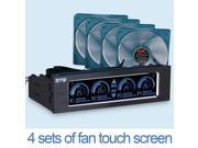5.25 inch PC Universal Media Dashboard Front Panel with LCD touch screen black Touch control 4 fan speed controller