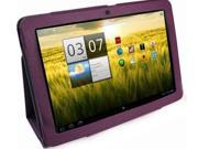 Purple Folio Leather Case Skin Cover For Acer a200 10.1 Tablet PC with Stand
