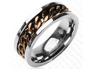 Mens Coffee Biker Chain on Titanium Ring 8MM - Size 13