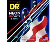 DR Strings K3 Neon Hi Def Red White Blue Bass 4 String Set 45 105