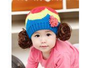 Korean children baby hat head rainbow wig cap hat tide female baby wool hat female autumn and winter wholesale , red