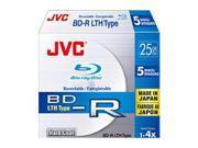 JVC BD-R 25Gb LTH Type Pack 5 BV-R25BW5 bluray blank media bdr discs