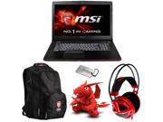 MSI Exclusive Gaming Bundle - GE72 Apache-264 Gaming Laptop, MSI Gaming Notebook Backpack, Gaming Headset, MSI Dragon Plush Doll, and MSI Military Dog Tag