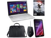 """ASUS Gaming Laptop Bundle Featuring ASUS Zenbook NX500JK-XH72T 15.6"""" Laptop, ASUS Lamborghini Laptop Bag, GX950 Gaming Mouse, MeMO Pad ME7000C Tablet, and Rise of the Tomb Raider Game Code"""