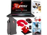 "MSI GS Series GS72 Stealth Pro 4K-202 17.3"" Gaming Laptop - Core i7 6700HQ, 6GB Memory, GeForce GTX 970M, 1 TB HDD, 256 GB SSD + Gaming Bundle"