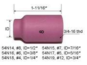 5-pk TIG Welding Torch Standard Alumina Ceramic Gas Lens Cup 54N14 #8 for Torch 17, 18 and 26