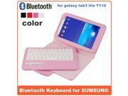 AIYZE Detachable Galaxy Tab3 7.0 inch T110 Wireless Bluetooth Removable Plastic Keyboard Case Cover For Samsung GALAXY Tab 3 Lite keyboard  High Quality  Split Large Litch Hardware Embossed-Pink