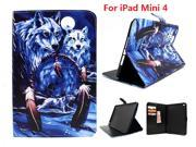 AIYZE Animal Moon Wolf Painting PU Leather Flip Case for Apple iPad Mini 4 Case Stand Cover With Card Holder