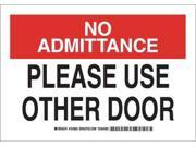 BRADY 124803 Admittance Sign, 7 x 10In, Blk and Red/Wht