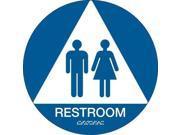 BRADY 106181 Restroom Sign, 12 x 12In, White/Blue