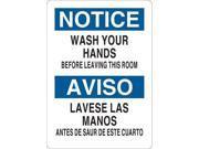 CONDOR Y4035225 Notice Sign, Bilingual, 7x5 in., Vinyl