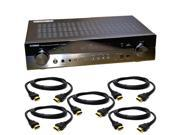 Yamaha RX-S600 Slim 5.1 Channel Home Theater Receiver + 5 HDMI Cables Bundle