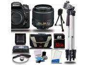 Nikon D7200 DSLR Camera Body 11PC Starter Bundle Kit 18 55mm VR Lens 32GB Card Reader Case 2 Tripods Cleaning Kit More