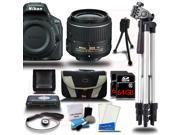 Nikon D5500 24.2 MP DSLR Camera w/ 18-55mm Lens Starter Bundle Black 128GB + Reader 15pc Kit New