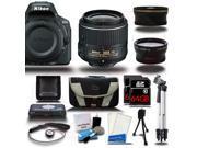 Nikon D5500 DSLR Black Camera w/ 18-55mm + Wide-Angle + Telephoto 3 Lens 17pc Bundle Kit 128GB