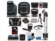 Nikon D5500 DSLR Black Camera w/ 18-55mm + Wide-Angle + Telephoto 3 Lens 23pc Premium Kit 64GB