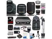 Nikon D5500 DSLR Camera Black w/ 18-55 + 55-200mm VR + 4 Lens Kit Bundle 64GB