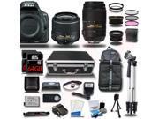 Nikon D5500 DSLR Camera Black w/ 18-55 + 55-300mm VR + 4 Lens Kit Bundle 128GB