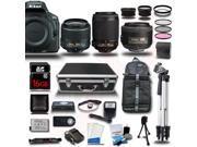 Nikon D5500 DSLR Camera Black w/ 18-55 + 55-200 + 35mm 5 Lens Kit Bundle 16GB