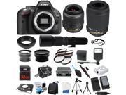Nikon D5200 Camera + 5 Lens Kit Bundle 18-55mm + 55-200 VR + 500mm Zoom + 32GB + 2 Case & More