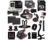 GOPRO HERO4 Black 17PC 128GB Kit Bundle Chest Head Wrist Mount Battery Charger