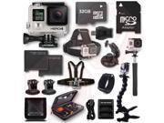 GOPRO HERO4 Black 17PC 32GB Kit Bundle Chest Head Wrist Mount Battery Charger