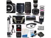 Canon Rebel T6I 700D + 18-55mm + 75-300mm + 50mm 1.8 5 Lens Kit Bundle + 32 GB + Card Reader + Flash + Case + 2 Tripods + More