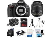 Nikon D5200 24.1MP 60FPS Full HD DSLR Black Camera + 18-55mm VR Lens + 32GB + Card Reader + Case & More - New