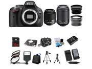 Nikon D5200 24.1MP 60FPS Full HD DSLR Black Camera + 18-55 VR + 55-200mm 4 Lens Kit Bundle + 32GB + Filters + Case + Extra Battery