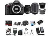 Nikon D5200 24.1MP 60FPS Full HD DSLR Black Camera + 18-55 VR + 55-200mm 4 Lens Kit Bundle + 64GB + Filters + Case + Extra Battery