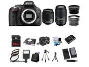 Nikon D5200 24.1MP 60FPS Full HD DSLR Black Camera + 18-55 VR + 55-300mm 4Lens Kit Bundle + 16GB + Filters + Case + 2 Tripods