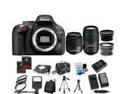 Nikon D5200 24.1MP 60FPS Full HD DSLR Black Camera + 18-55 VR + 55-300mm 4 Lens Kit Bundle + 64GB + Filters + Case + 2 Tripods
