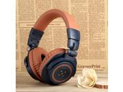 OVLENG V8-3 90°Foldable Super Bass Wireless Bluetooth 4.0 Games Headphone for iphone/ipad/Samsung Galaxy - Dark Blue + Light Brown
