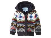 Wippette Little Boys' Fun Robot Zip Front Hooded Cardigan Sweater, Navy, 3T