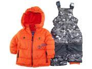 Rugged Bear Baby-Boys Infant Winter 2 Piece Snowsuit in Camo with Ski Pant Set, Orange, 12 Months