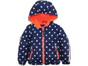 Pink Platinum Little Girls Polka Dot Active Hooded Jacket Spring Coat Navy 5 6