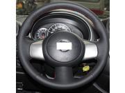 Hand Sewing Black Genuine Leather Steering Wheel Cover for 2009 2010 2011 2012 2013 2014 Nissan Cube / 2013 2014 Nissan Versa / 2013 2014 2015 Nissan NV200
