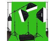 Lusana Studio Chromakey Green Screen Lighting Kit 2000W 10'x12' Backdrop LNG3440