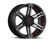 Tuff T-01 T01KM6M13K108R 20x9 6x139.7 -13mm Black/Machined/Red Wheel Rim