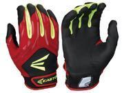 1pr Easton HF3 Hyperskin Youth Medium Black/Red/Optic Fastpitch Batting Gloves
