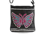8486 Rhinestone Studded Butterfly Cross Body Bag