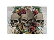 Skulls and Roses Metal Tattoo All Over Indoor Mat