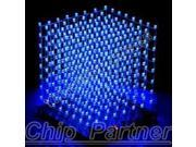 3D LightSquared DIY Kit 8x8x8 3mm LED Cube White LED Blue Ray