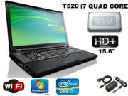 "Lenovo Thinkpad T520 - i7-2760QM Quad 2.4GHz - 16gb - 160gb SSD - DVD-RW - 15.6"" Screen - Win 7 Pro 64 - 1600x900 - Webcam - 2 YEAR WARRANTY"
