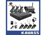 KAVASS Wireless NVR CCTV Security System with 4 Channel NVR & 4 Weatherproof 720P HD IR Night Vision Wireless Surveillance IP Network Cameras