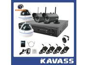 KAVASS Wireless 4 Security 720P IP Cameras IR-cut Night Vision & 4 Channel Wifi Network Surveillance NVR System