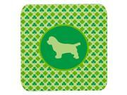Set of 4 Sussex Spaniel Lucky Shamrock Foam Coasters