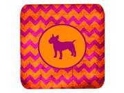 Set of 4 Bull Terrier Chevron Pink and Orange Foam Coasters